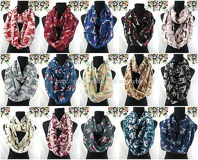 US SELLER-12pcs cats dogs pets animals lover double loop infinity scarf cowl