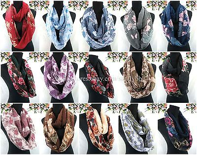 US SELLER-12pcs womens cowl neck vintage rose floral double loop infinity scarf