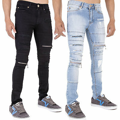 New Mens Super Skinny Stretch Punk Retro Denim Ripped Zip Funky Jeans All Waist