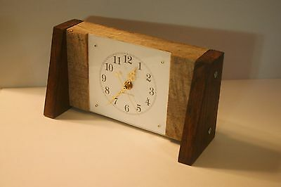 Reclaimed Old Growth Red Oak Unique Rustic Desk Or Mantle Clock 100% USA MADE