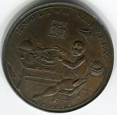 England: Fat Man eating=British Slavery/Peace and Plenty 1/2 Penny, 29mm