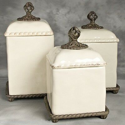 The GG Collection Barcelona Set of 3 Cream with Metal Ceramic Kitchen Canisters