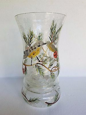 Fifth Ave Crystal Finch 10 inch Hurricane Handpainted Crackle Glass