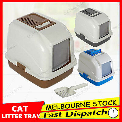 New  Cat Pet Toilet Litter Box Tray Portable Hooded House Handle Scoop Carrier L