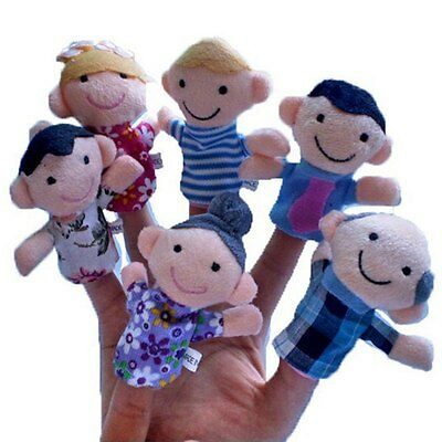 6pcs Family Hot Sale Cute Finger Puppets Educational Kids Hand Toy For Boy Girl
