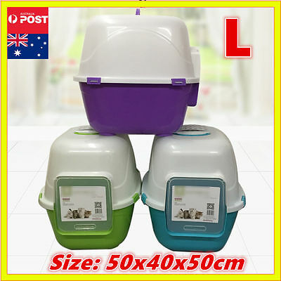 New XL Cat Pet Toilet Litter Box Tray Portable Hooded House Handle Scoop Carrier