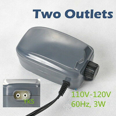 Efficient Two Outlets Air Pump 120 Gal Aquarium 48GPH 220V LB