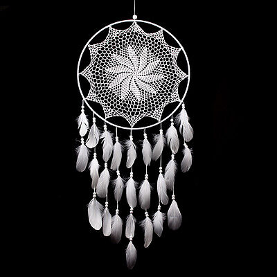 43.3'' Handmade Lace Dream Catcher Feather Bead Hanging Decoration Ornament Gift