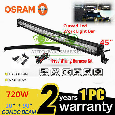 "Xmas!CURVED 720W 45"" LED Combo Work Light Bar Offroad Driving Lamp FLOOD SPOT"