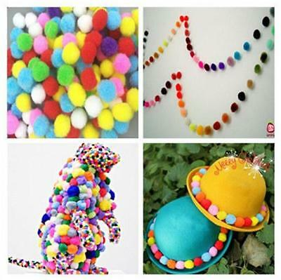 50Pcs Assorted Colour Fluffy Pom Poms Childrens DIY Crafts Pompoms Ball Decor Z