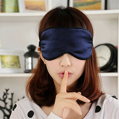 Pure Silk Sleep Rest Eye Mask Padded Shade Cover Travel Relax Aid Blindfolds LSB