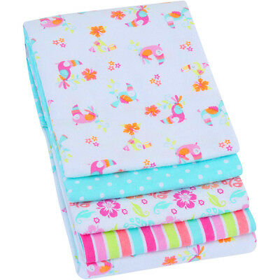 4 Pack Receiving Blanket For Girls Pink Baby 100% Cotton Flannel Swaddling
