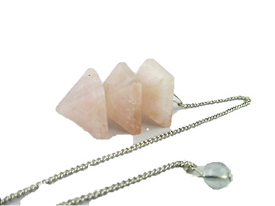 Jet Rose Quartz Triple Bonded Pyramid Pendulum A++ Jet International Crystal