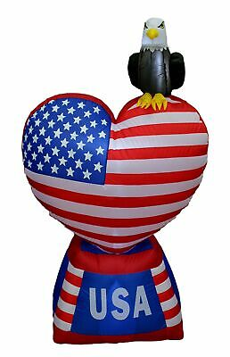 5 Foot Tall Patriotic Independence Day Inflatable Love Heart with American Flag