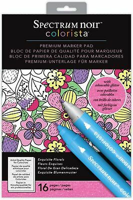 Spectrum Noir - Colorista A4 Glitter Exquistire Florals Marker Pen Colouring Pad