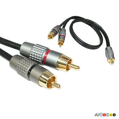 SAVE! Premium Y-Adapter Audio 1 Female to 2 Male RCA Cable 1F/2M Subwoofer Cable