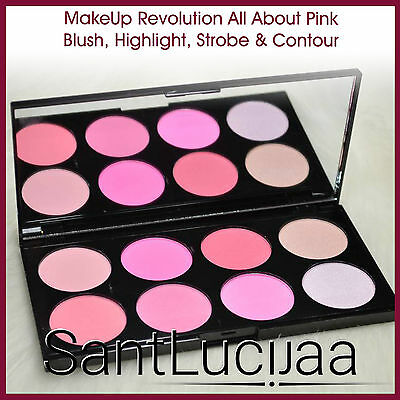 Makeup Revolution Blusher Palette Contouring Highlighter All About Pink Strobe