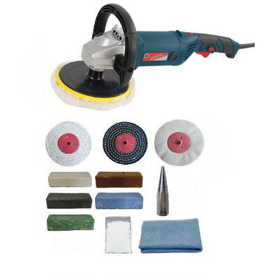 "1500W Variable Speed Angle Grinder Polisher & Metal Polishing Kit - 4"" x 1"" Mops"