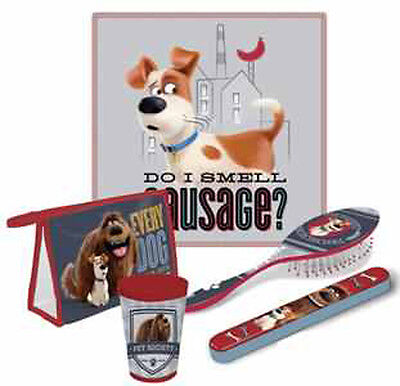 Secret Life Of Pets 5Pc Bathroom Travel Set Towel Cup Toothbrush Cover Brush Bag