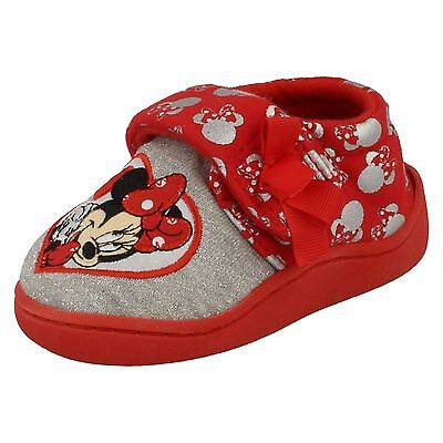 Girls Disney Riptape Bow Strap Minnie Mouse Indoor House Slippers Shoes Strand