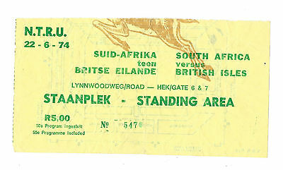 1974 - South Africa v British Lions, 2nd Test Match Ticket.