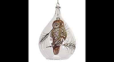 """64963 7"""" Open End Glass Ornament with Owl Inside Christmas Holiday Decoration"""