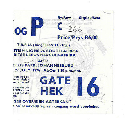 1974 - South Africa v British Lions, 4th Test Match Ticket.