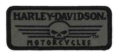 Harley-Davidson Embroidered Linear Skull Emblem, XS 3.375 x 1.5 inches EM027751