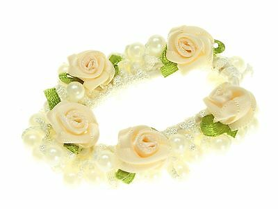 Cream Rosebud Pearl Scrunchie Hair Accessories UK
