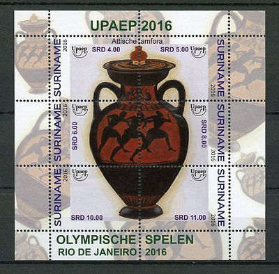 Suriname 2016 MNH Olympic Games Rio 2016 6v M/S Amphora Olympics Stamps