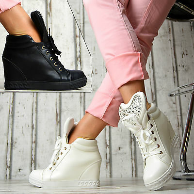 damen sneaker wedges keilabsatz schuhe freizeit sneakers high 819422 eur 17 90 picclick de. Black Bedroom Furniture Sets. Home Design Ideas