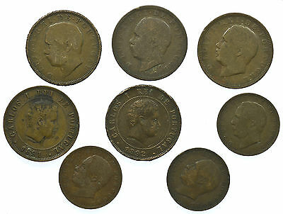 Portugal, Collection Of 8 Coins, 19Th Century, 1882-1892