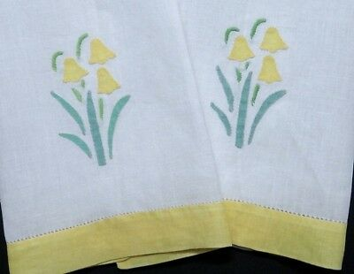 Vintage Applique Bell Flowers Linen Tea Hand Towels - Pretty Colorful Accents!