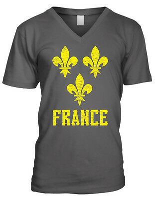France Symbol French Distressed Country Francaise From FRA Men's V-Neck T-Shirt
