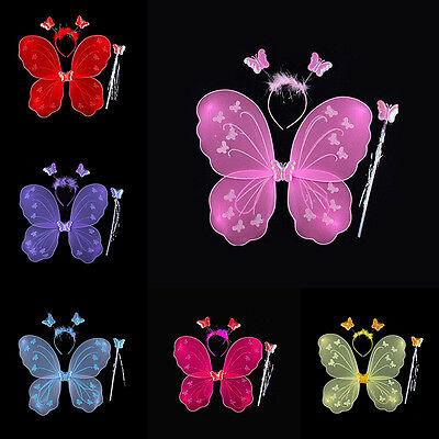 Lovely Children Kids Girls Party Costume Butterfly Fairy Wings Wand Headwear Set