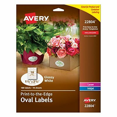 Avery Easy Peel Print-To-The-Edge Permanent Labels, Oval, Laser/InkJet, 1.5 x