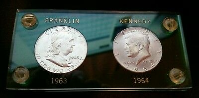 1963 D Franklin 1964 D Kennedy Uncirculated Half Dollar Acrylic Frame Set