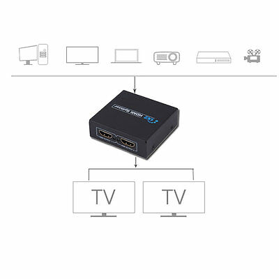 HDCP 1080P 1 in 2 Out HDMI Splitter Amplifier Dual Display For HDTV DVD PS3 YL