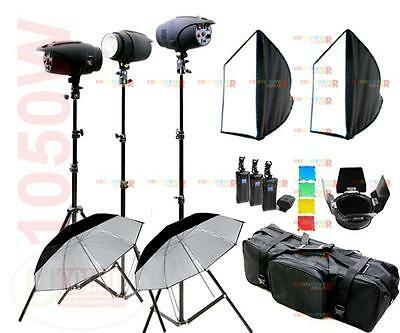 1050W Photography Studio Strobe Flash Lighting Kit 3 Lights AU