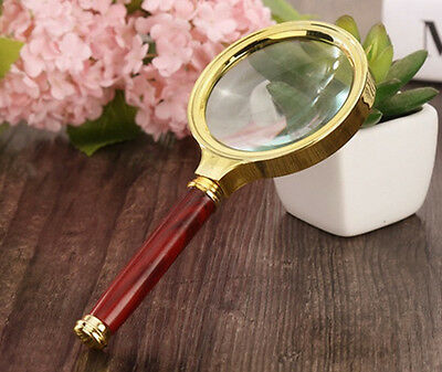 70mm D 10x Handheld Magnifier Optical Magnifying Glass Loupe with Wood Handle