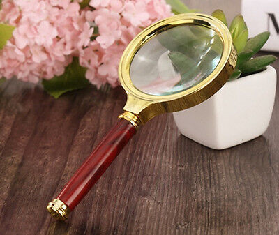 80mm D 10x Handheld Magnifier Optical Magnifying Glass Loupe with Wood Handle