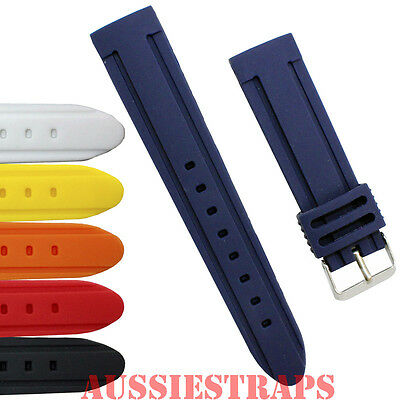 Double Scoop Silicone Rubber Waterproof Watch Band Strap Diver's Mens Ladies