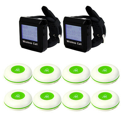 New Wireless Paging System Call Pager Set 2x Wrist Watch Receiver+8x Call Button