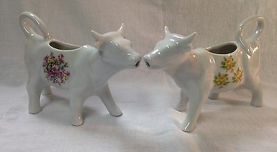 Two Beautiful Vintage Porcelain Hand-Painted  Cow Creamers
