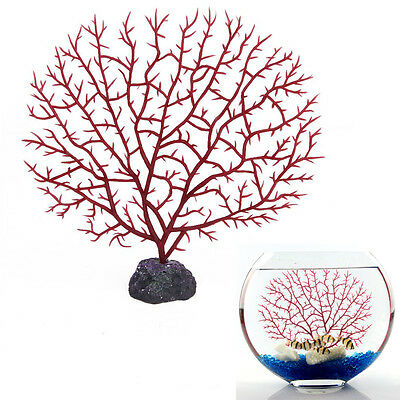 Aquarium artificielle corail rouge sous l'eau plantes Ornament Decoration Y3 • EUR 2,18