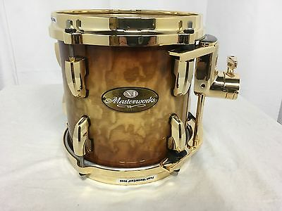 """Pearl Masterworks 8"""" Mounted Tom/Brown Fade/Gold Hardware/Maple Shell/RARE!"""