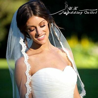 Beautiful lace Bridal wedding 1 tier soft lace veil ivory with comb