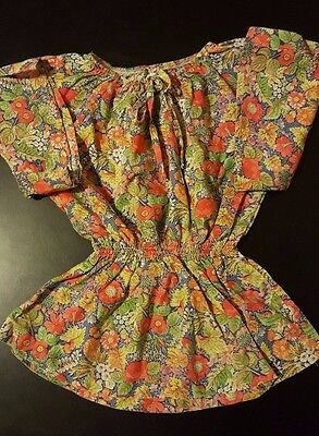 Vintage 70s 80s J.C. Penney Girls Peasant Blouse Shirt Top Floral Size Small 7-8
