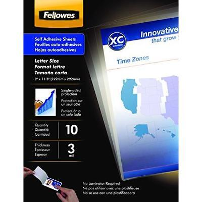 Fellowes Laminating Sheets, Self Adhesive, Letter Size, 3 Mil, 10 Pack New