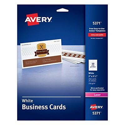 Avery Laser 2 x 3 1/2 Inch White Business Cards 250 Count (5371) New